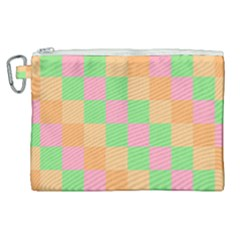 Checkerboard Pastel Squares Canvas Cosmetic Bag (xl) by Pakrebo