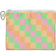 Checkerboard Pastel Squares Canvas Cosmetic Bag (xxxl) by Pakrebo