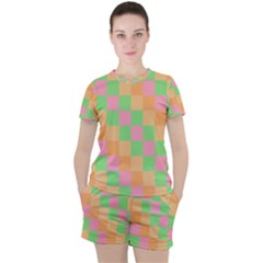 Checkerboard Pastel Squares Women s Tee And Shorts Set