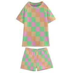 Checkerboard Pastel Squares Kids  Swim Tee And Shorts Set