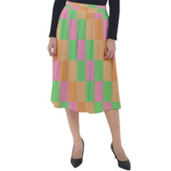 Checkerboard Pastel Squares Classic Velour Midi Skirt