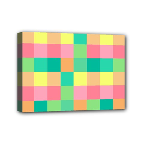 Checkerboard Pastel Squares Mini Canvas 7  X 5  (stretched) by Pakrebo