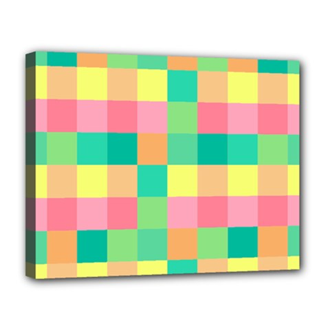 Checkerboard Pastel Squares Canvas 14  X 11  (stretched) by Pakrebo