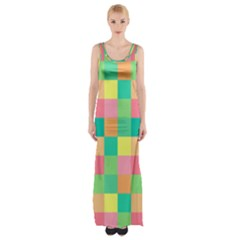 Checkerboard Pastel Squares Maxi Thigh Split Dress