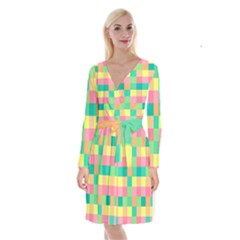 Checkerboard Pastel Squares Long Sleeve Velvet Front Wrap Dress