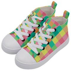 Checkerboard Pastel Squares Kids  Mid-top Canvas Sneakers by Pakrebo