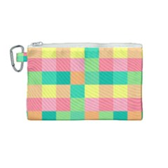 Checkerboard Pastel Squares Canvas Cosmetic Bag (medium) by Pakrebo