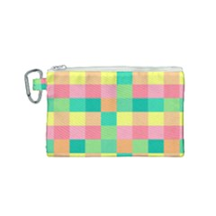 Checkerboard Pastel Squares Canvas Cosmetic Bag (small) by Pakrebo