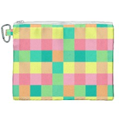 Checkerboard Pastel Squares Canvas Cosmetic Bag (xxl) by Pakrebo
