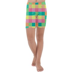Checkerboard Pastel Squares Kids  Lightweight Velour Capri Yoga Leggings by Pakrebo