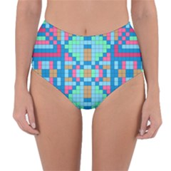 Checkerboard Squares Abstract Reversible High Waist Bikini Bottoms