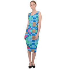 Checkerboard Squares Abstract Sleeveless Pencil Dress