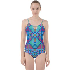 Checkerboard Squares Abstract Cut Out Top Tankini Set