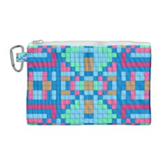 Checkerboard Squares Abstract Canvas Cosmetic Bag (large) by Pakrebo