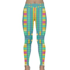 Checkerboard Squares Abstract Classic Yoga Leggings by Pakrebo