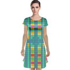 Checkerboard Squares Abstract Cap Sleeve Nightdress