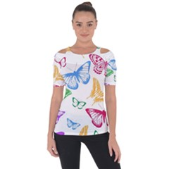 Butterfly Butterflies Vintage Shoulder Cut Out Short Sleeve Top
