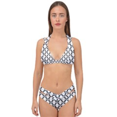 Black Pattern Halftone Wallpaper Double Strap Halter Bikini Set