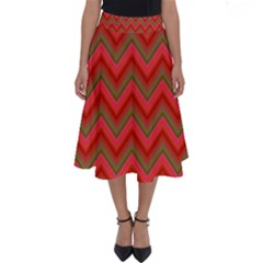 Background Retro Red Zigzag Perfect Length Midi Skirt