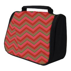 Background Retro Red Zigzag Full Print Travel Pouch (small) by Pakrebo
