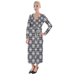Pattern Vector Halftone Wallpaper Velvet Maxi Wrap Dress