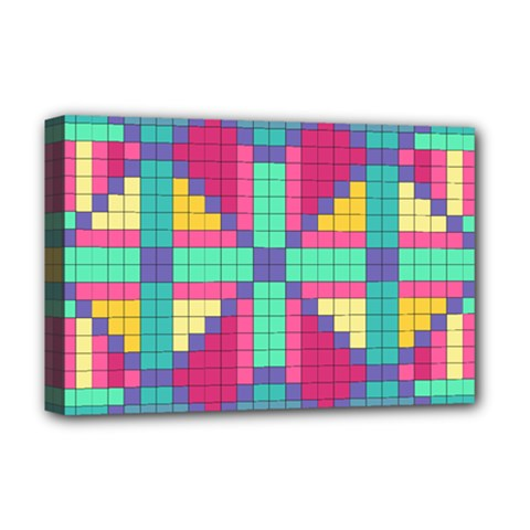Checkerboard Squares Abstract Deluxe Canvas 18  X 12  (stretched)