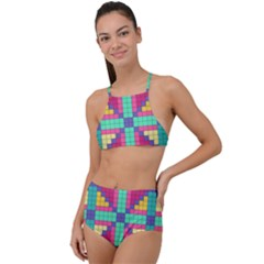 Checkerboard Squares Abstract High Waist Tankini Set by Pakrebo