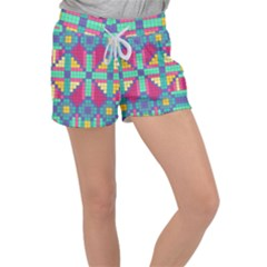 Checkerboard Squares Abstract Women s Velour Lounge Shorts by Pakrebo