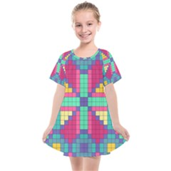Checkerboard Squares Abstract Kids  Smock Dress