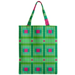 Checkerboard Squares Abstract Zipper Classic Tote Bag