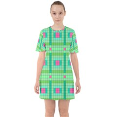 Checkerboard Squares Abstract Sixties Short Sleeve Mini Dress