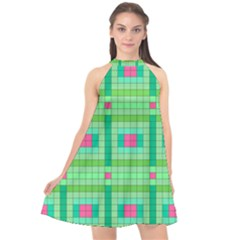 Checkerboard Squares Abstract Halter Neckline Chiffon Dress