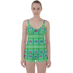 Checkerboard Squares Abstract Tie Front Two Piece Tankini