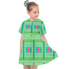 Checkerboard Squares Abstract Kids  Sailor Dress