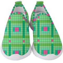 Checkerboard Squares Abstract Kids  Slip On Sneakers