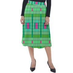 Checkerboard Squares Abstract Classic Velour Midi Skirt