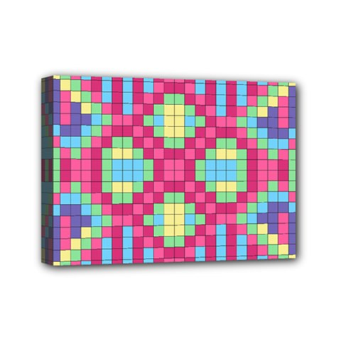 Checkerboard Squares Abstract Mini Canvas 7  X 5  (stretched) by Pakrebo