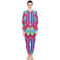 Checkerboard Squares Abstract Onepiece Jumpsuit (ladies)