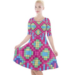 Checkerboard Squares Abstract Quarter Sleeve A Line Dress