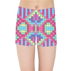 Checkerboard Squares Abstract Kids  Sports Shorts