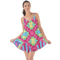 Checkerboard Squares Abstract Love The Sun Cover Up