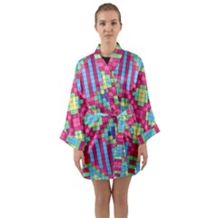 Checkerboard Squares Abstract Long Sleeve Kimono Robe