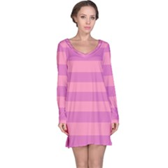 Pink Stripes Striped Design Pattern Long Sleeve Nightdress