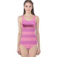 Pink Stripes Striped Design Pattern One Piece Swimsuit