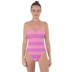 Pink Stripes Striped Design Pattern Tie Back One Piece Swimsuit