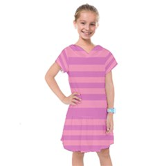 Pink Stripes Striped Design Pattern Kids  Drop Waist Dress
