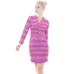 Pink Stripes Striped Design Pattern Button Long Sleeve Dress