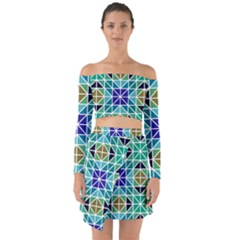 Mosaic Triangle Symmetry Off Shoulder Top With Skirt Set