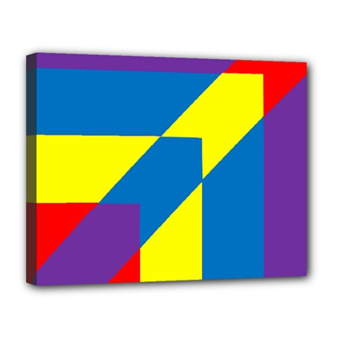 Colorful Red Yellow Blue Purple Canvas 14  X 11  (stretched)