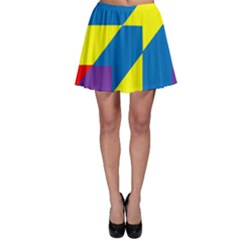 Colorful Red Yellow Blue Purple Skater Skirt by Pakrebo